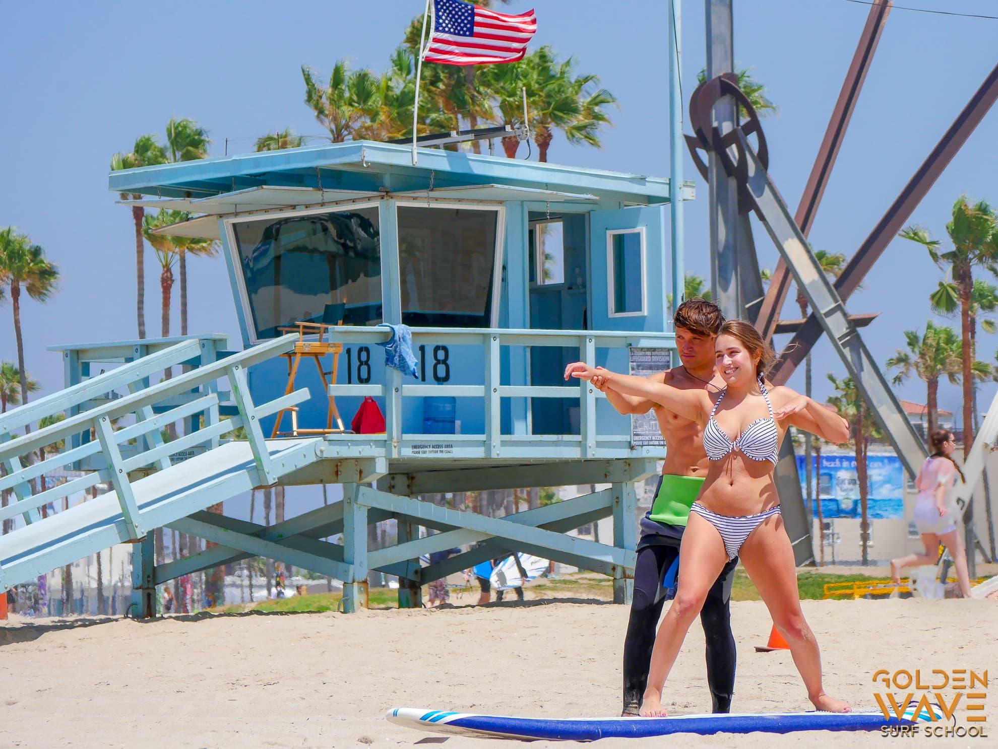 Урок серфинга с девушкой, обучение серфингу, лос анджелес